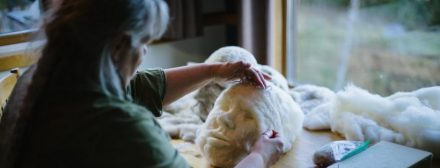 Artist Rosemarie Péloquin sitting at table needle-felting a white wool face sculpture. Photo: Emily Christie.