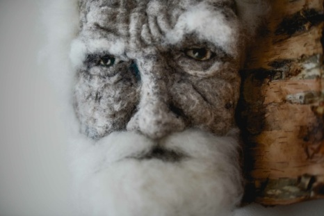 Gnarled - Hand needle-felted wool sculpture of a male face with white wispy hair. Mounted on reclaimed birch bark. artist: Rosemarie Péloquin; photo: Emily Christie.